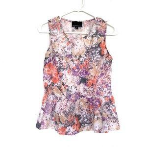 Cynthia Rowley White Sleeveless Floral Peplum Top